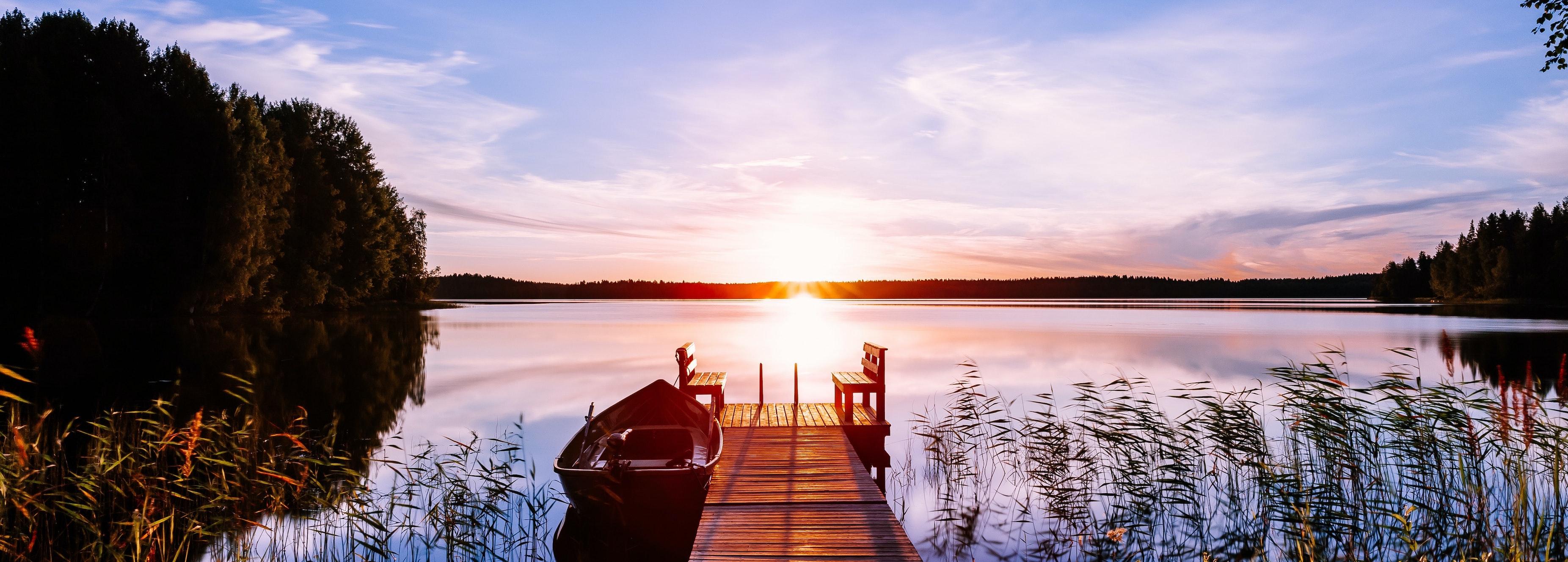 Bildspel Brygga solnedgång
